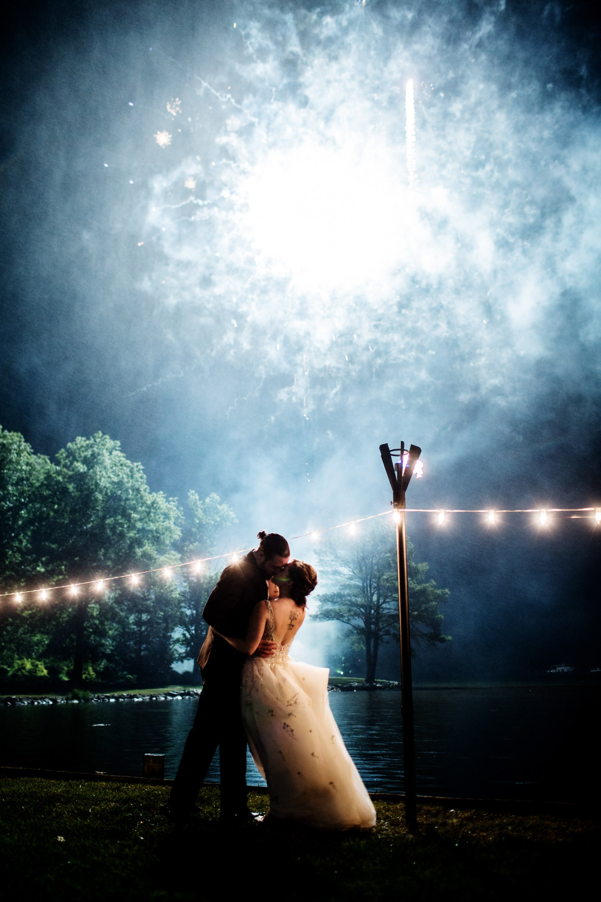 Fireworks went off during the reception at this Oaks Waterfront Inn wedding