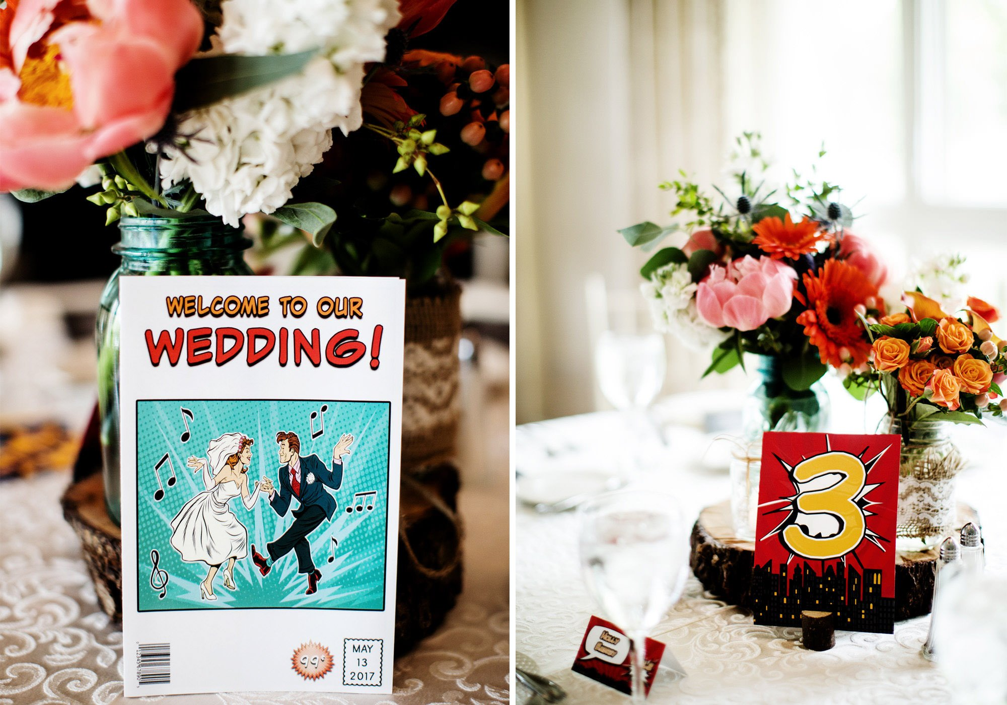 Details of the Superhero Theme at The Oaks Waterfront Inn and Events Wedding, Royal Oak, MD
