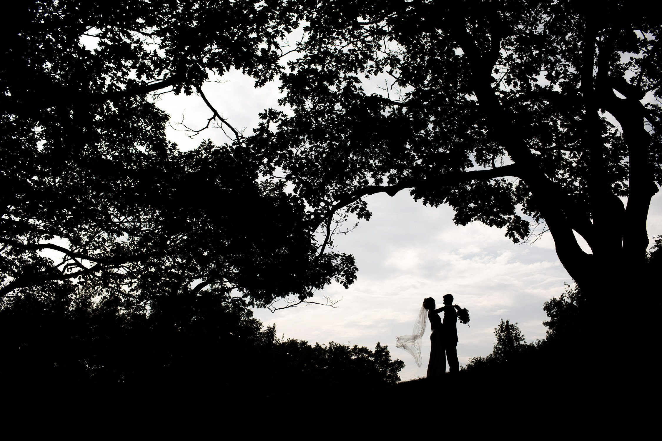 The bride and groom share a moment alone prior to their reception at Wachusett Mountain.