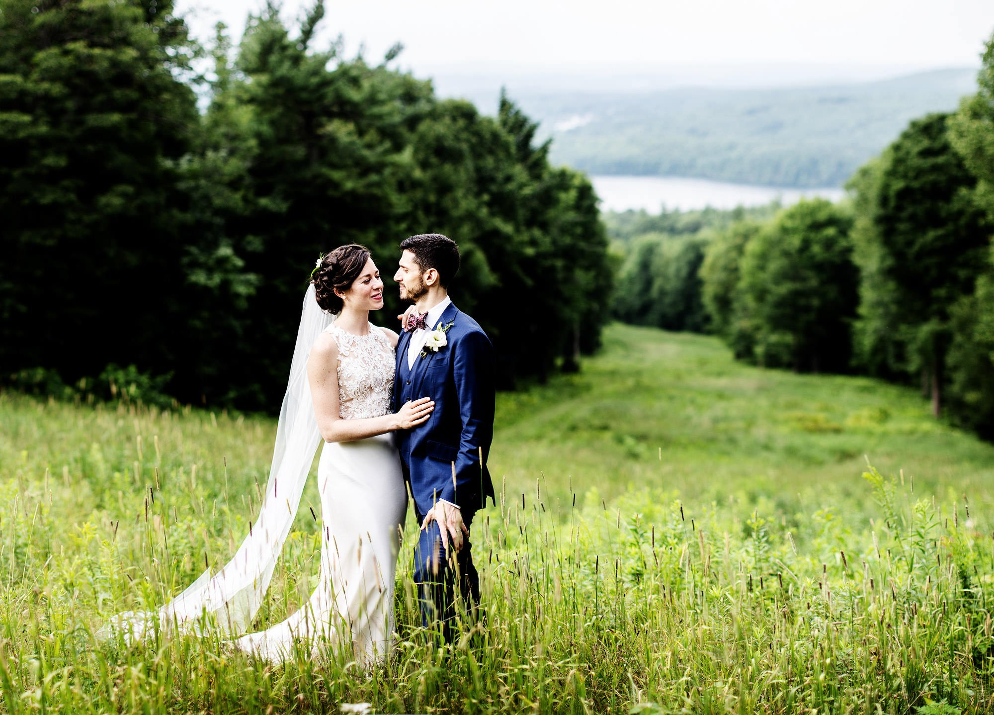 The Bride and Groom pose for a portrait during their Wachusett Mountain Wedding.