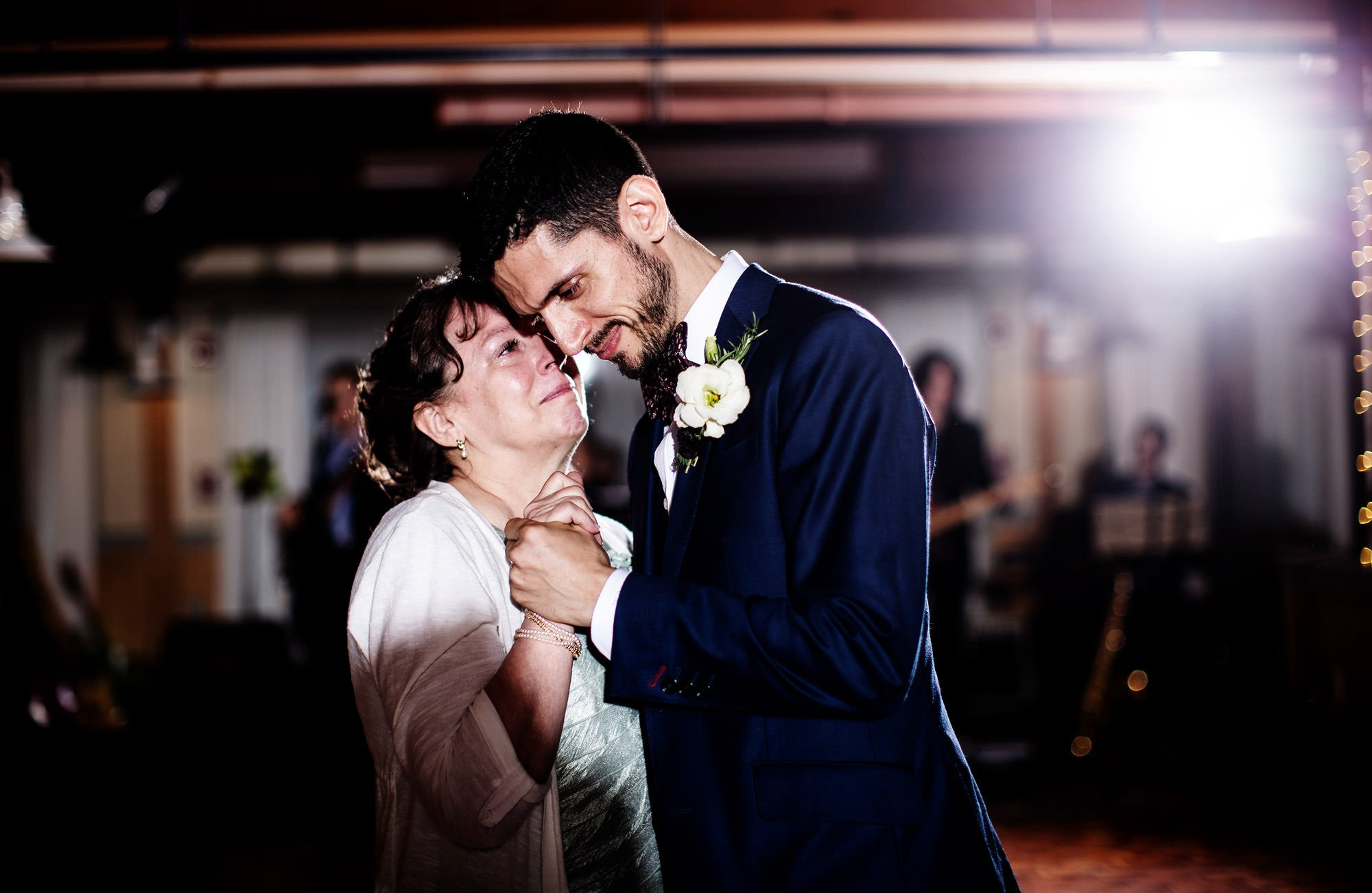 The groom shares a dance with his mother at Wachusett Mountain.