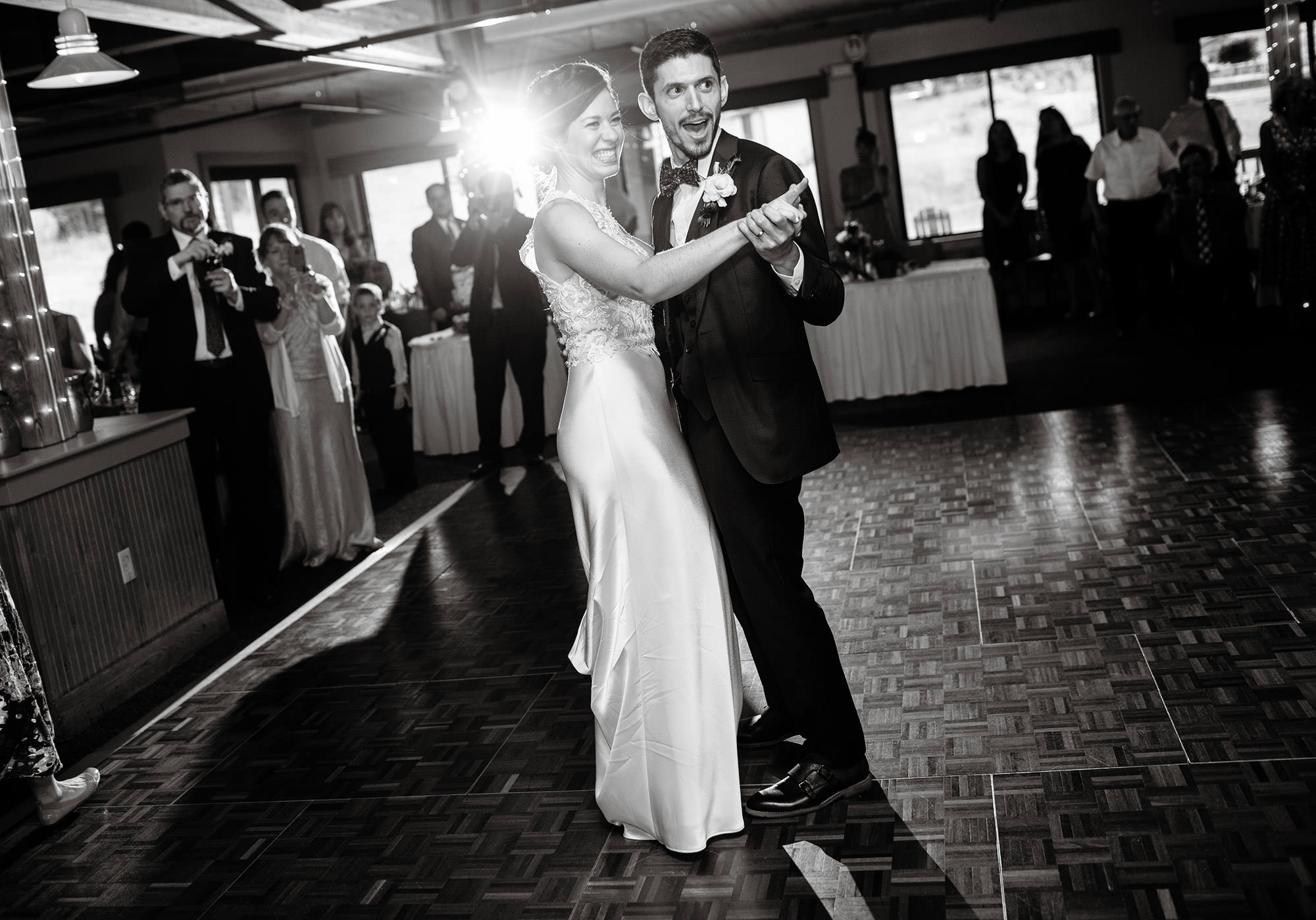 The bride and groom share their first dance at their Wachusett Mountain wedding.