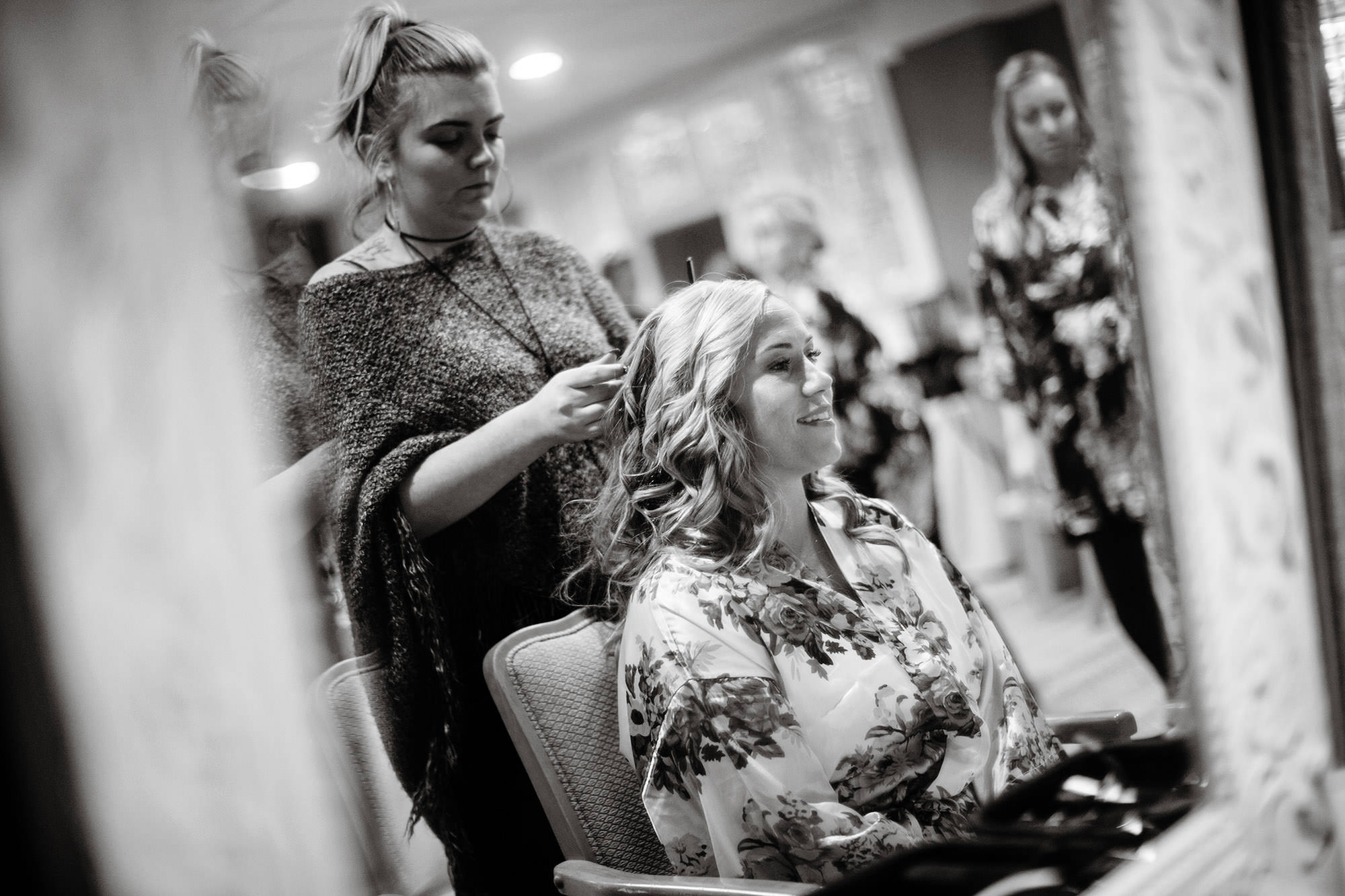 The Bride gets her hair done prior to the ceremony at Wequassett Resort.