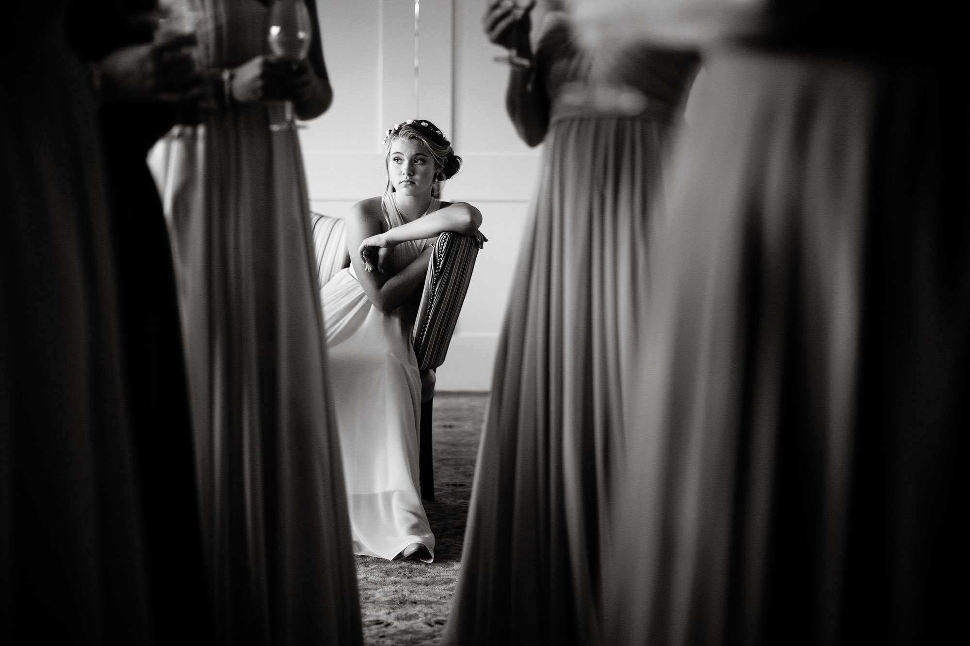 Bridesmaids wait for the ceremony to begin at Wequassett Resort.
