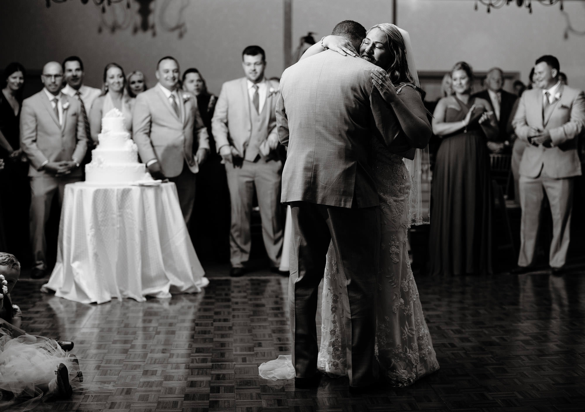 The bride and groom share their first dance during their Wequassett Resort wedding.