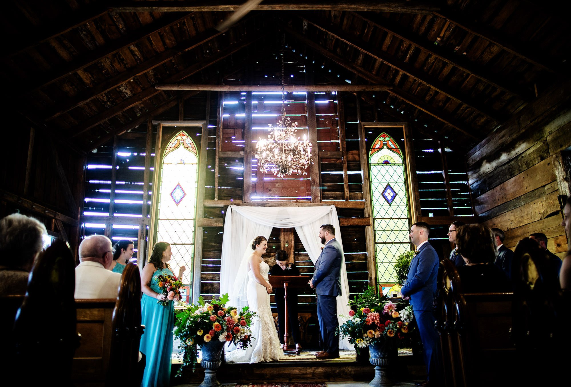 The wedding ceremony at Bishop Farm.
