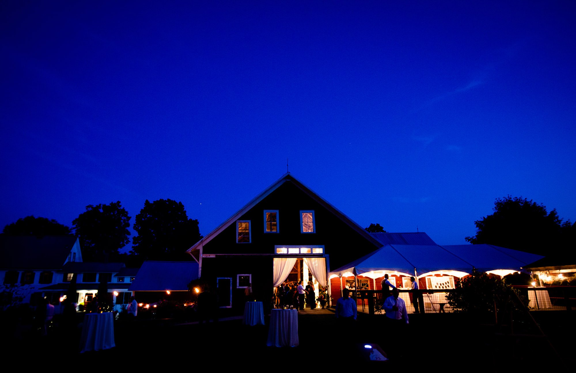 The sun sets on the wedding day at Bishop Farm.