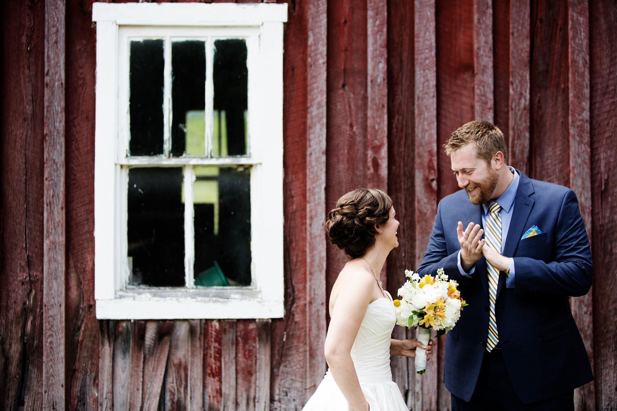 The bride and groom share their first look at their Chanteclaire Farm Wedding.