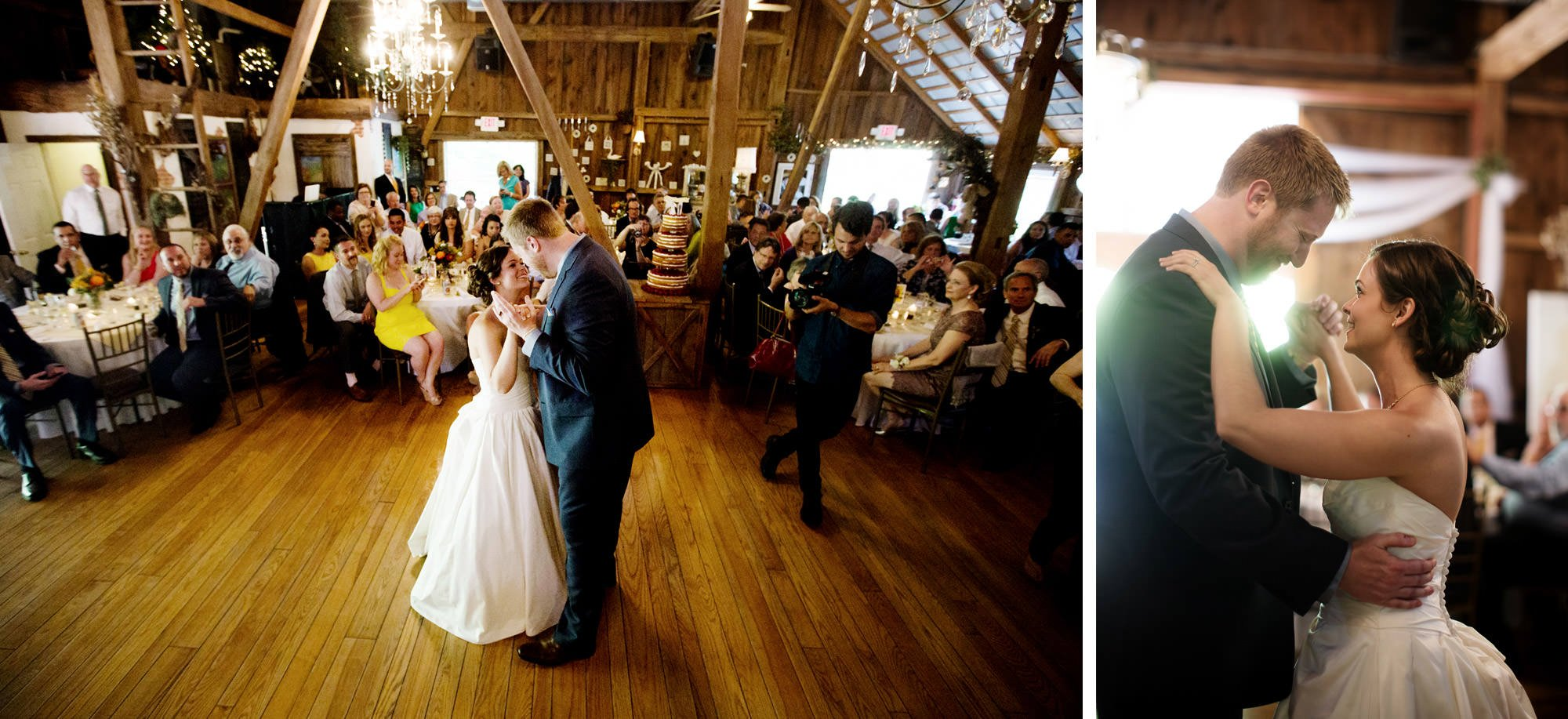 The bride and groom's first dance at Chanteclaire Farm.
