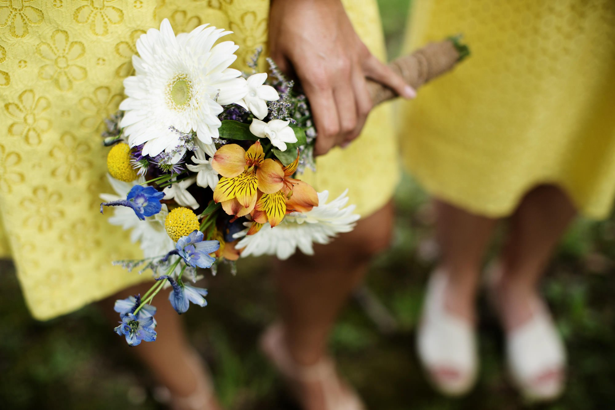 A bridesmaid's bouquet of flowers.