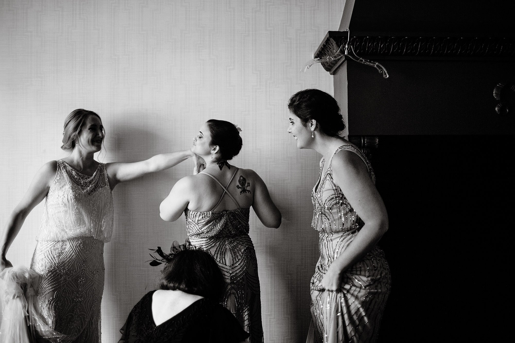 The bridesmaids get ready prior to the wedding ceremony.