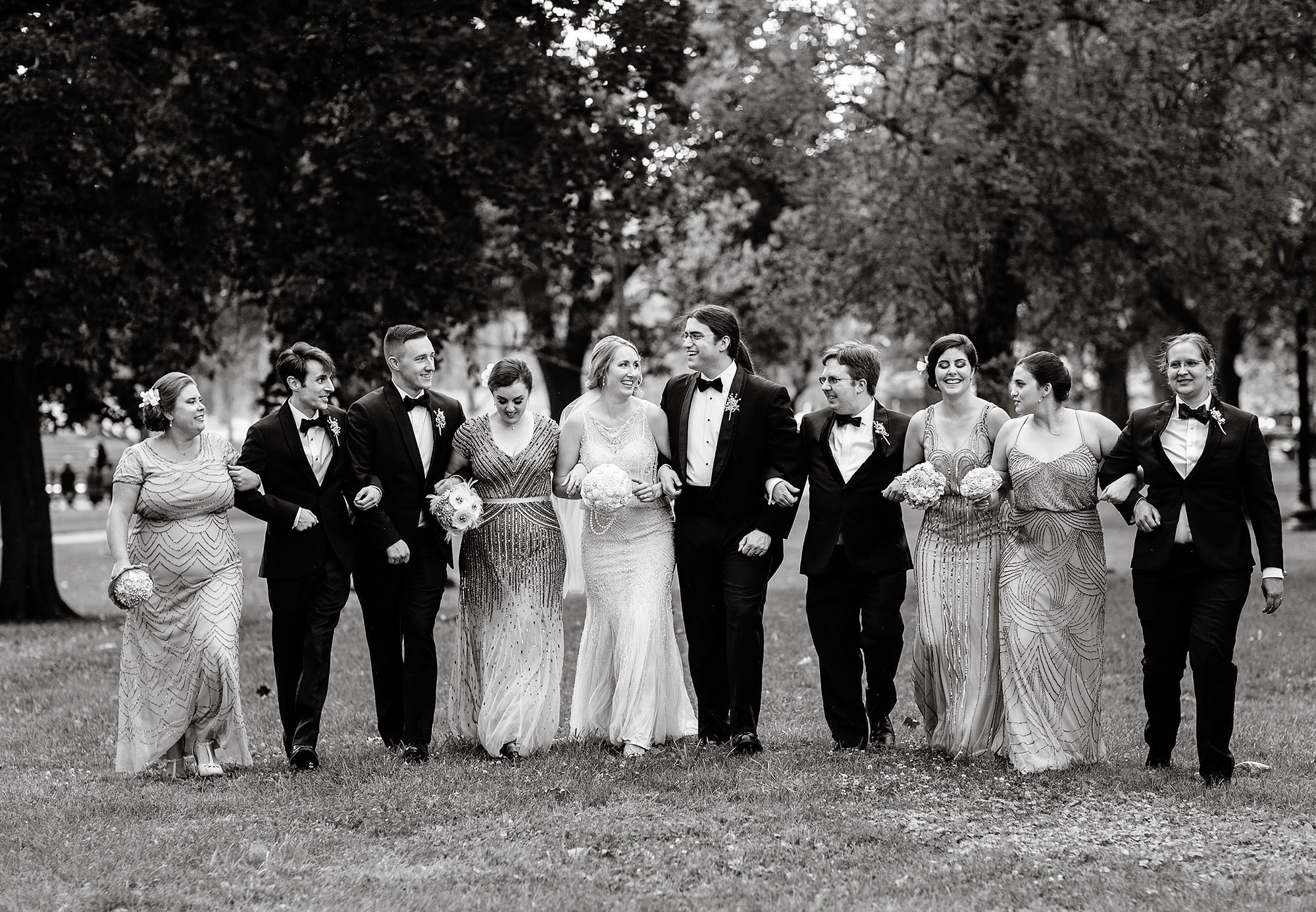 The wedding party in Boston's Public Garden.