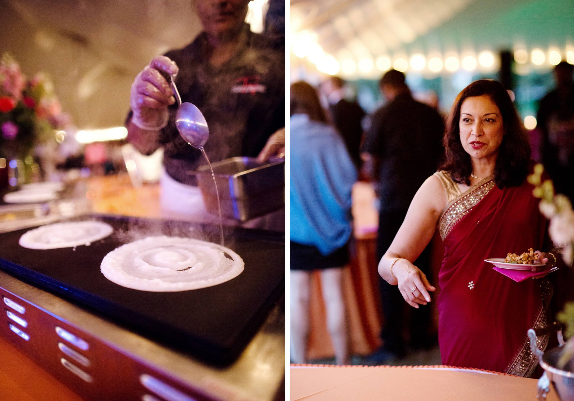 Indian food is prepared during this Doukenie Winery wedding.