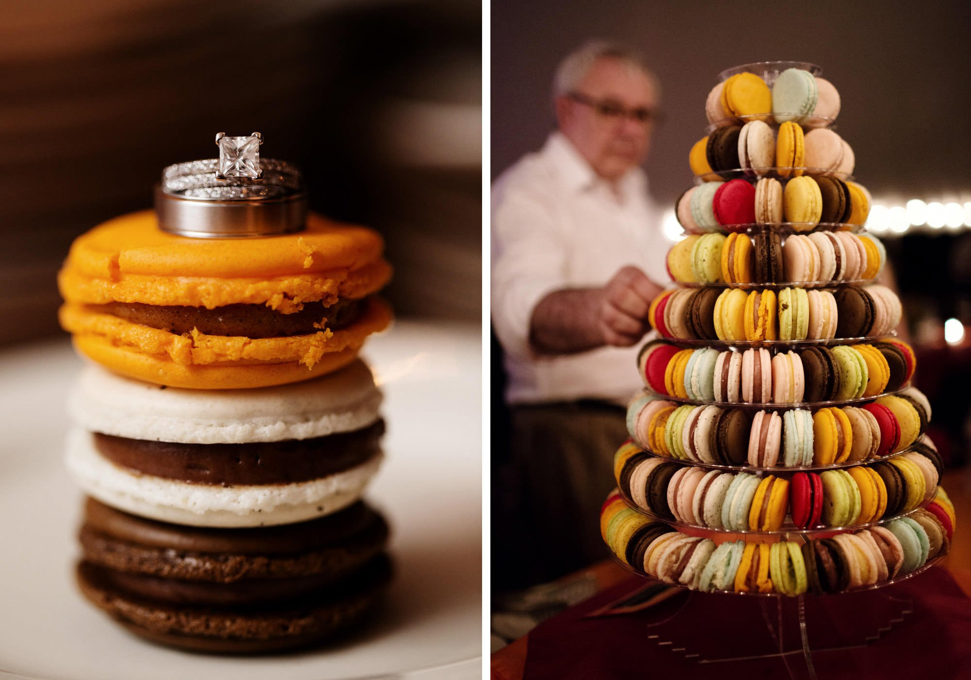 Details of the rings and macaroons during the wedding reception at Doukenie Winery.