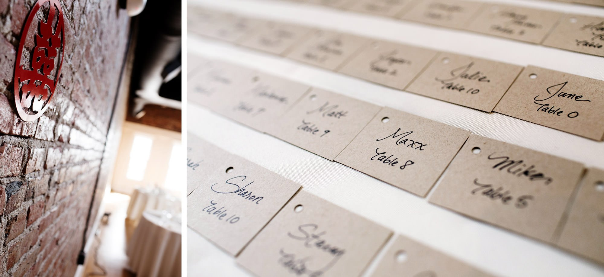 Details of place cards.