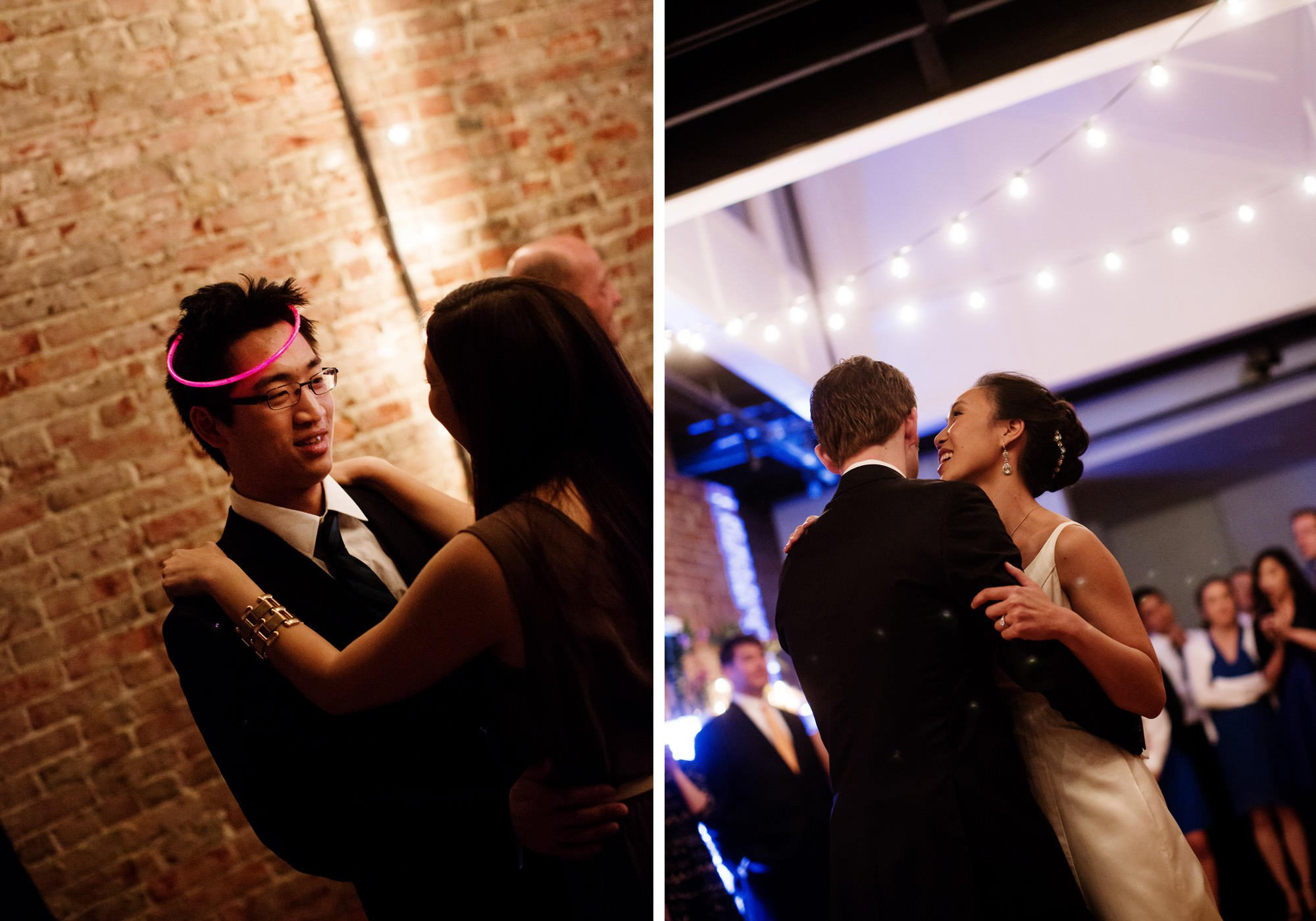 Guests dance during the wedding reception at Epic Yoga Studio.
