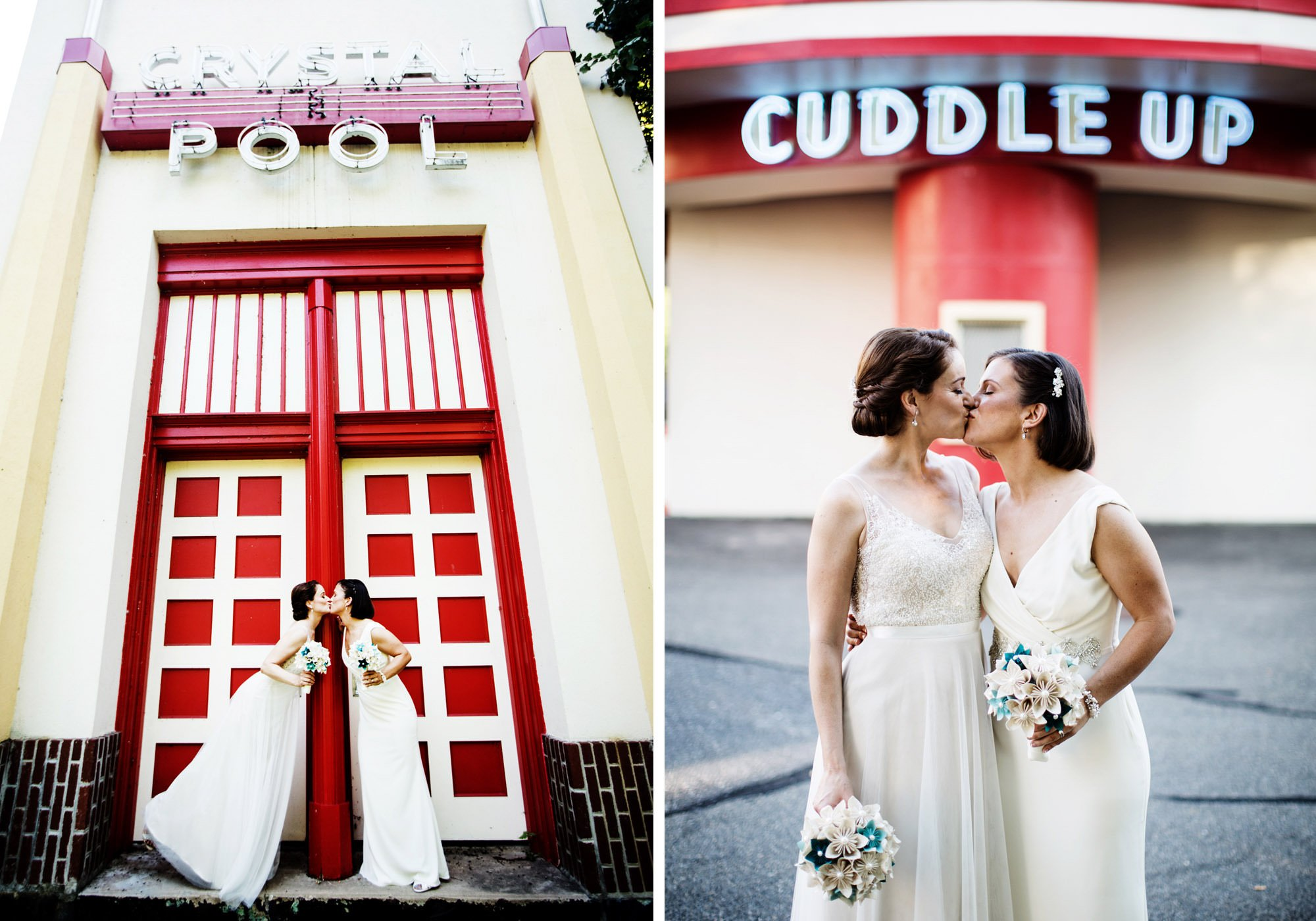 The brides pose for portraits in Glen Echo Park following their ceremony.