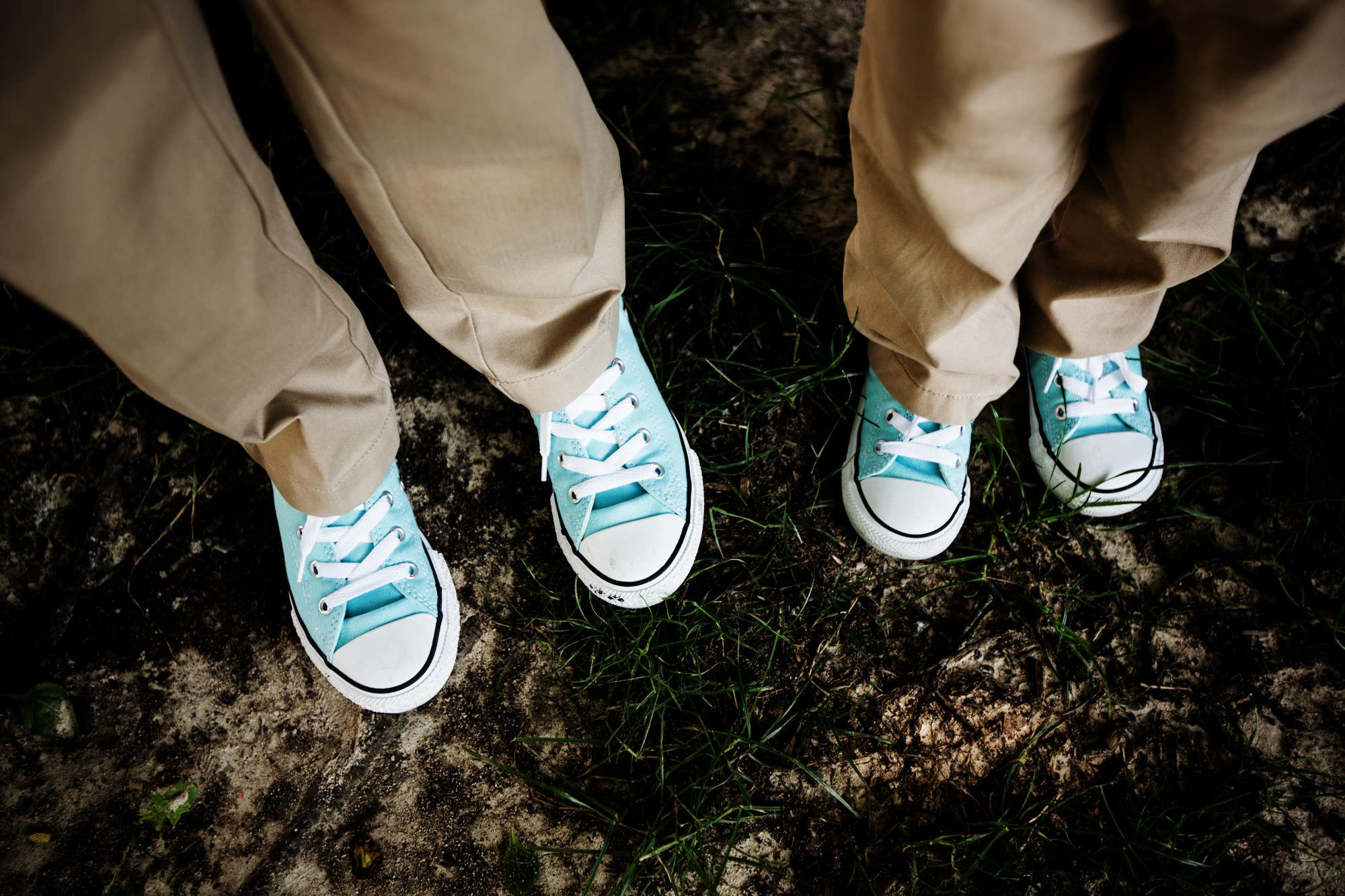 Details of the shoes worn by the ring bearers.