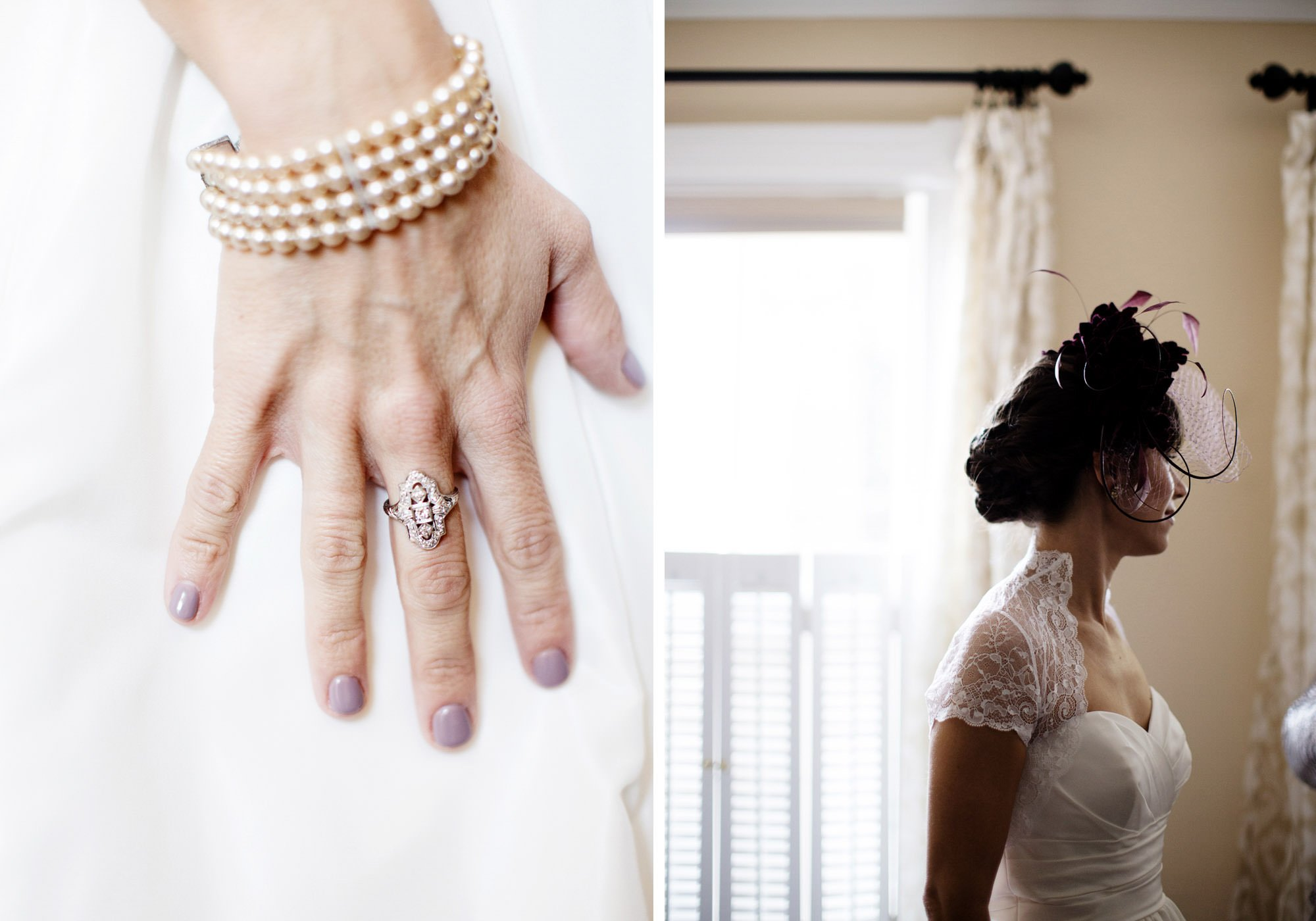 Details of the bride during her Governor Calvert House wedding.