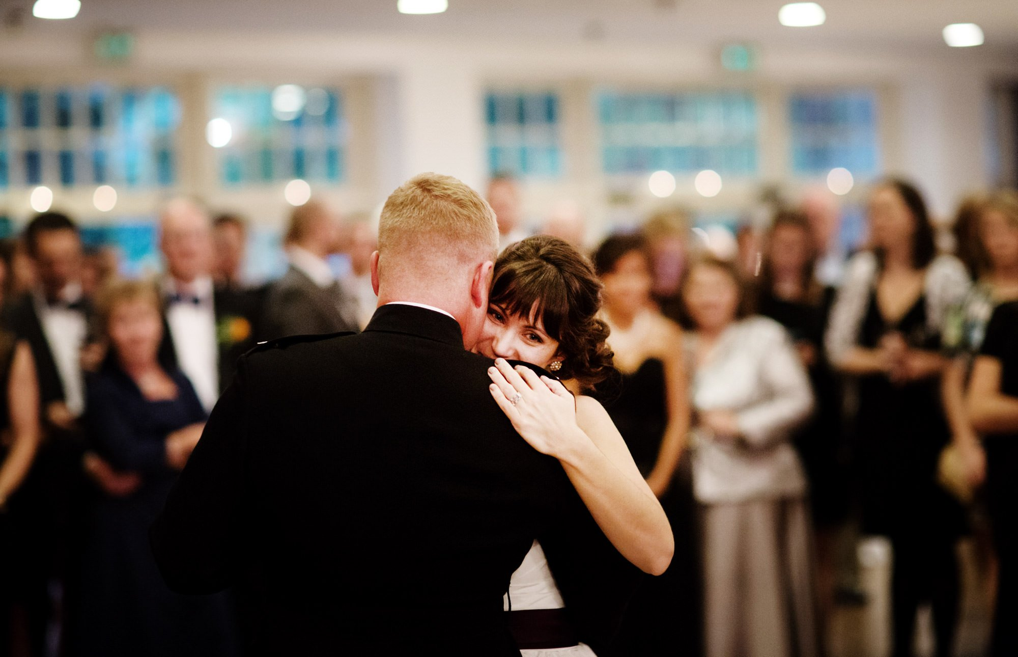 The bride and groom share their first dance during their Governor Calvert House wedding.