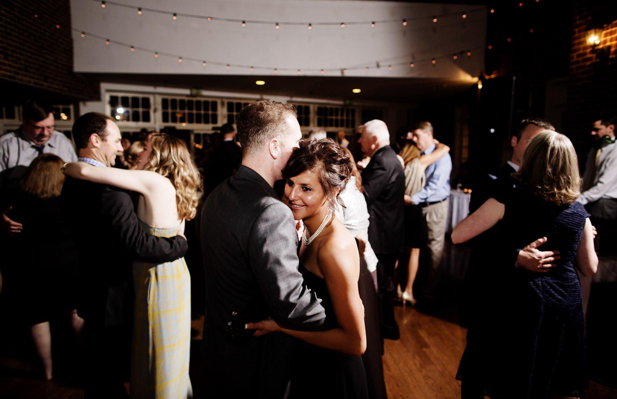 Guests enjoy the wedding reception at Governor Calvert House.