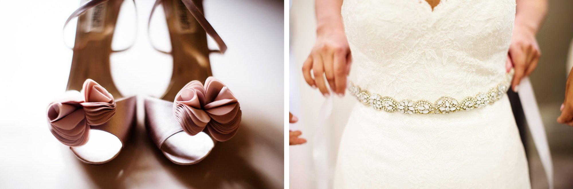 Details of shoes and the bride's dress.
