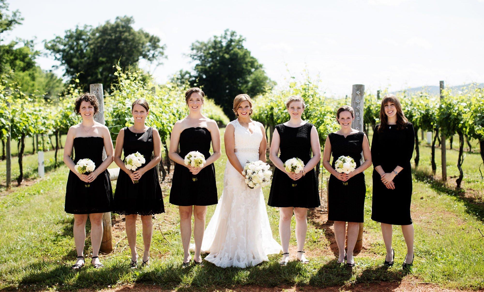 The bridal party at Keswick Vineyards.