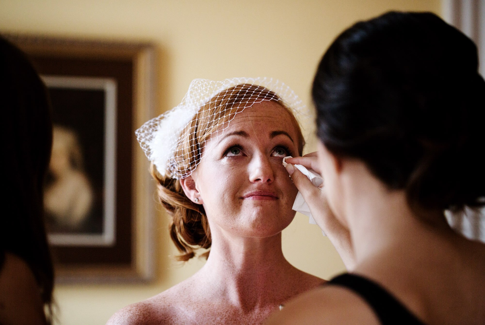 The bride tears up before her Marriott Ranch Wedding ceremony in Hume, VA.