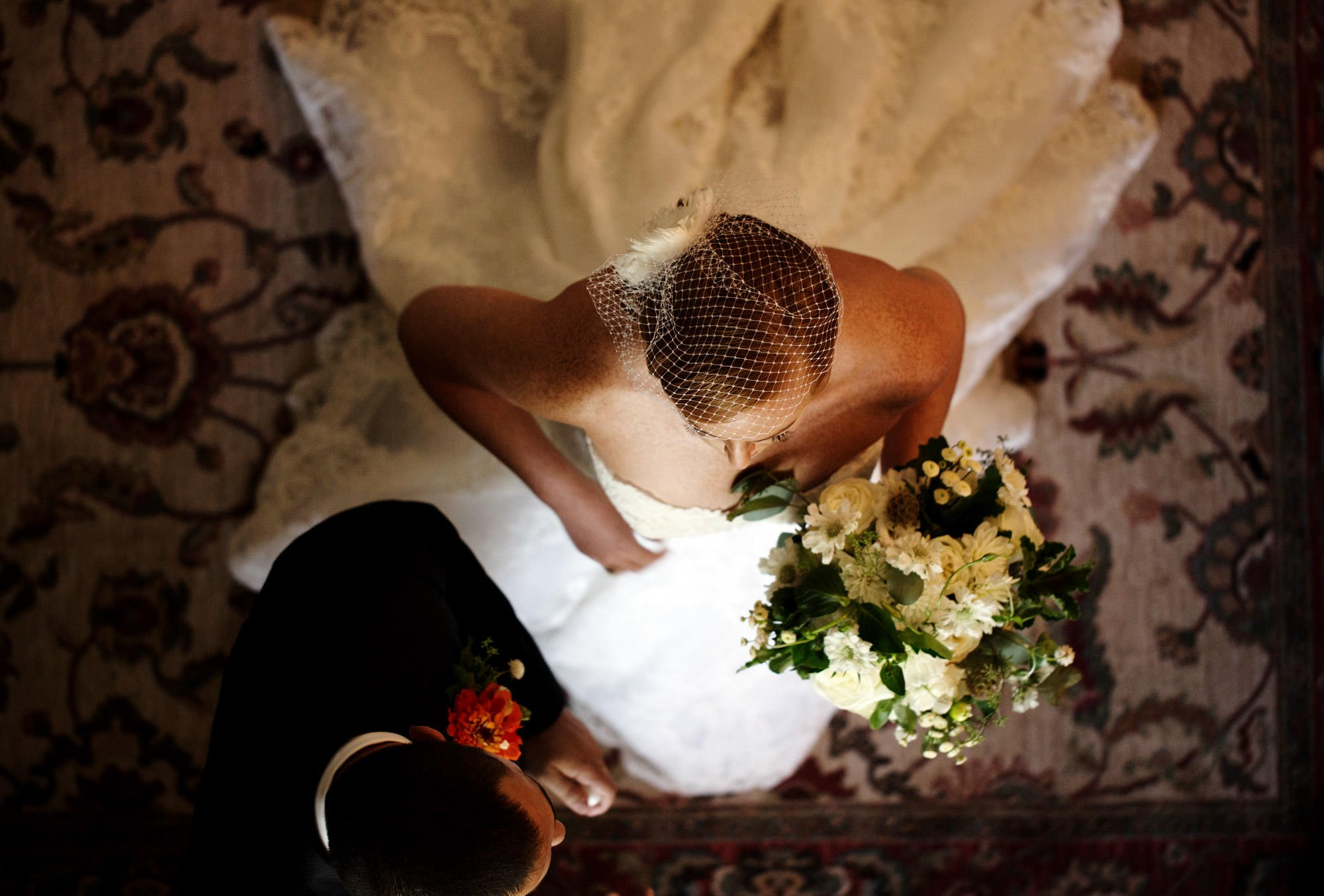 The bride prepares for the ceremony during her Marriott Ranch wedding.
