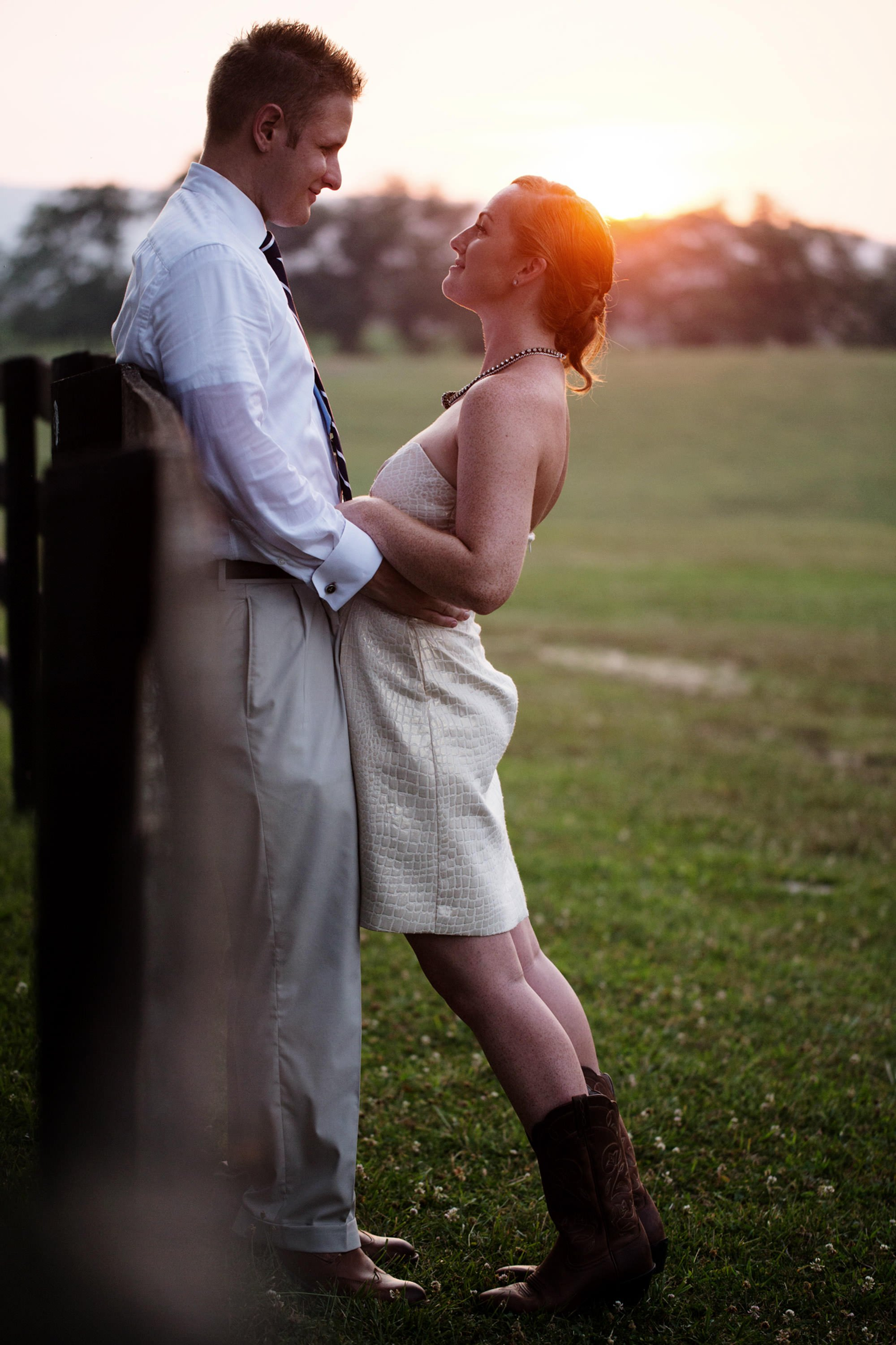The bride and groom take a moment alone during sunset at their Marriott Ranch wedding.