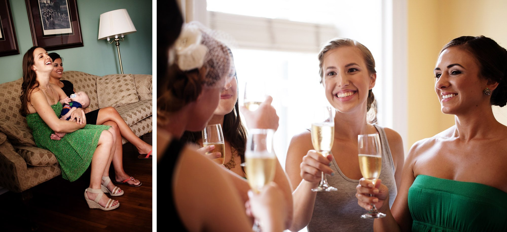 Bridesmaids toast before the ceremony of this Marriott Ranch Wedding.