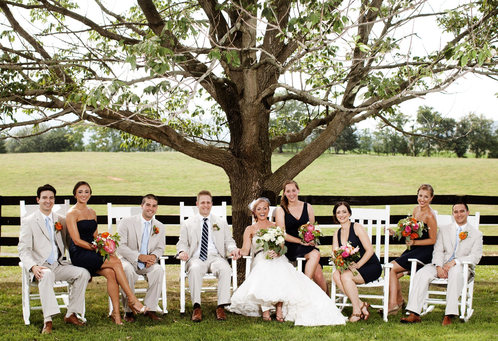 A portrait of the wedding party at Marriott Ranch.