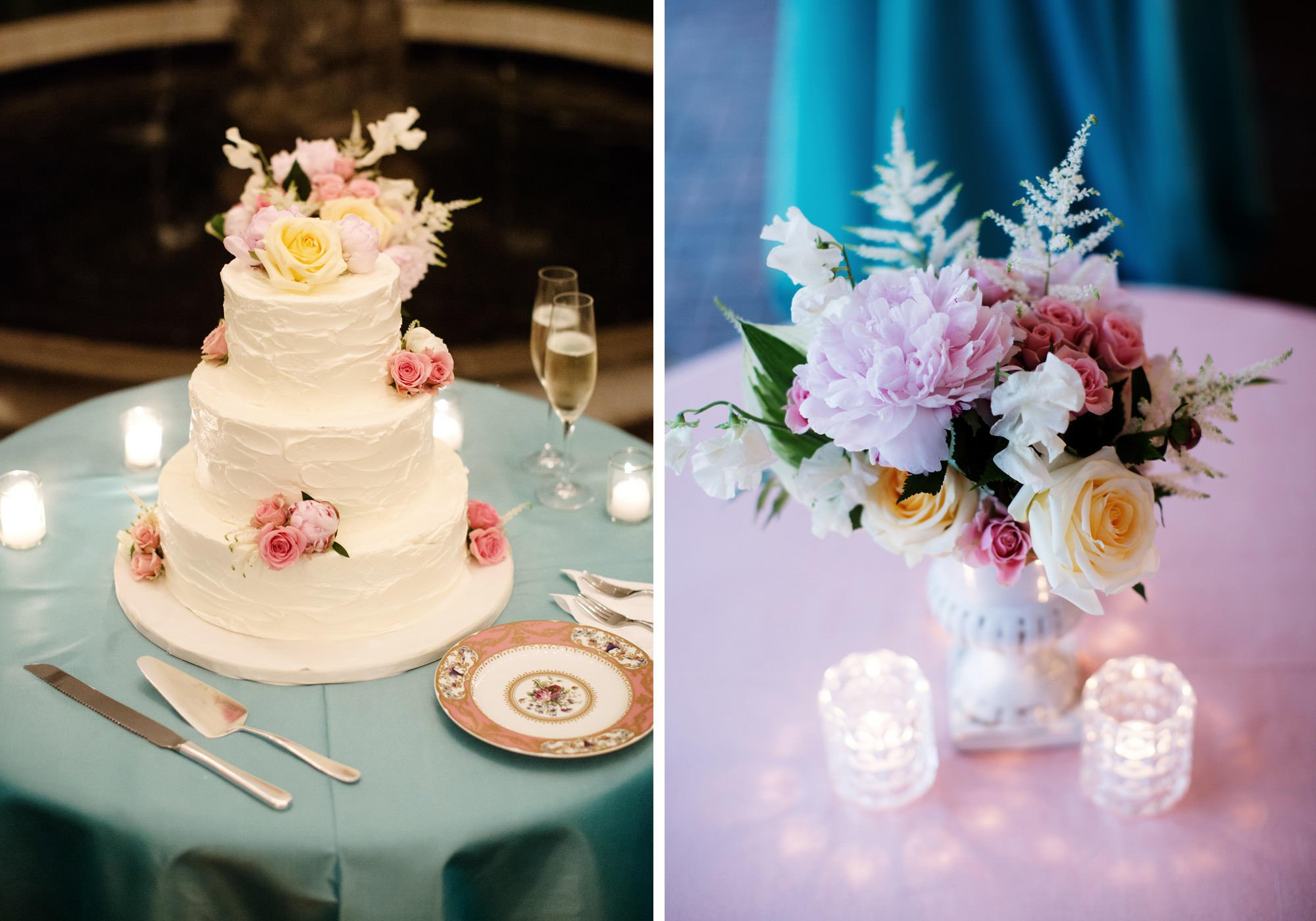 Details of the wedding cake at Oxon Hill Manor.