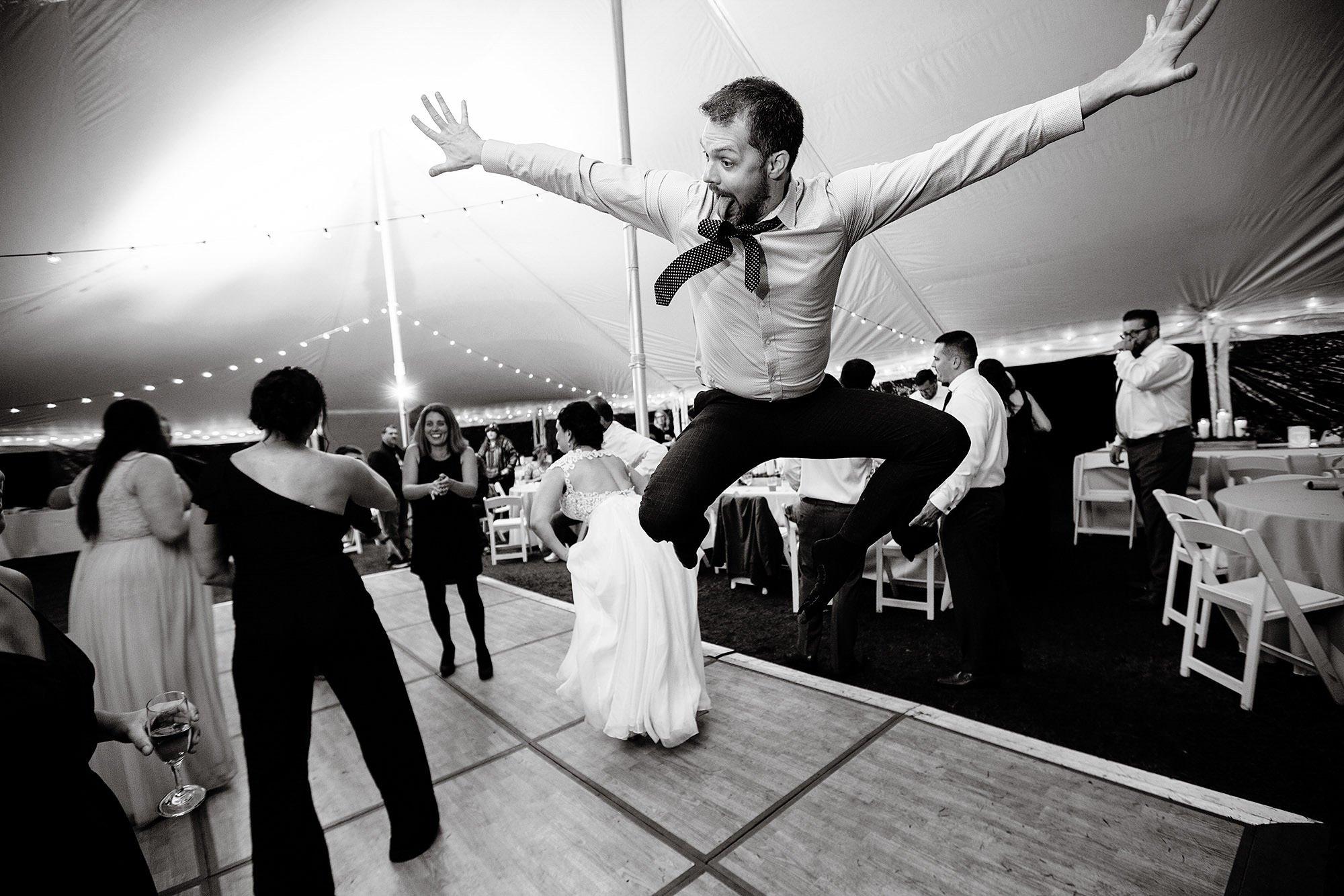 Guests enjoy the wedding reception at Pelham House Resort on Cape Cod.