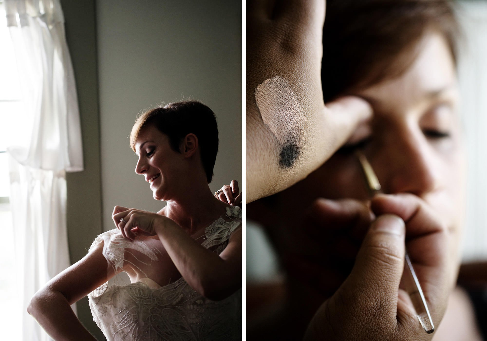 The bride puts on her dress and makeup on her River Farm wedding day.