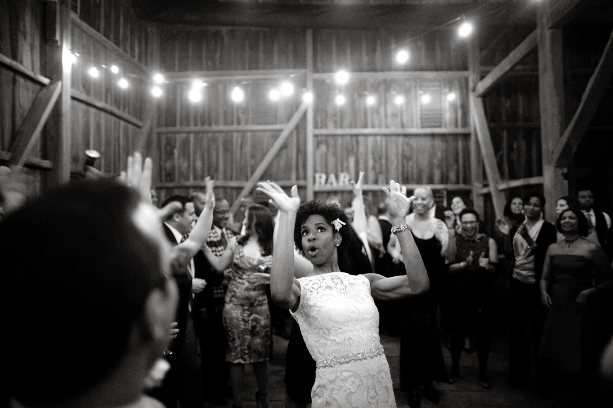 The bride shows off her moves on the  dance floor.
