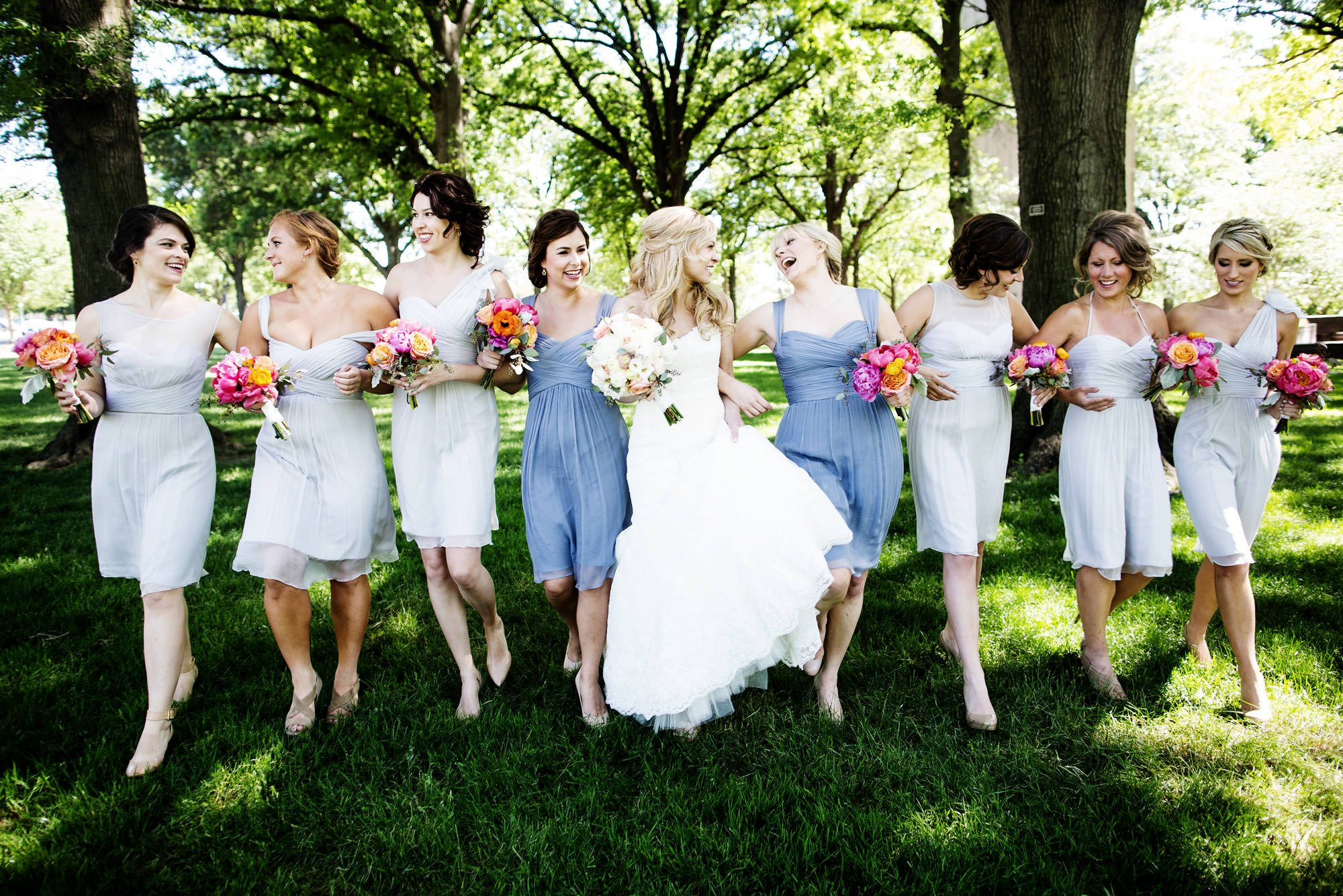 The bridesmaids pose for a portrait in Upper Senate Park in Washington, DC.