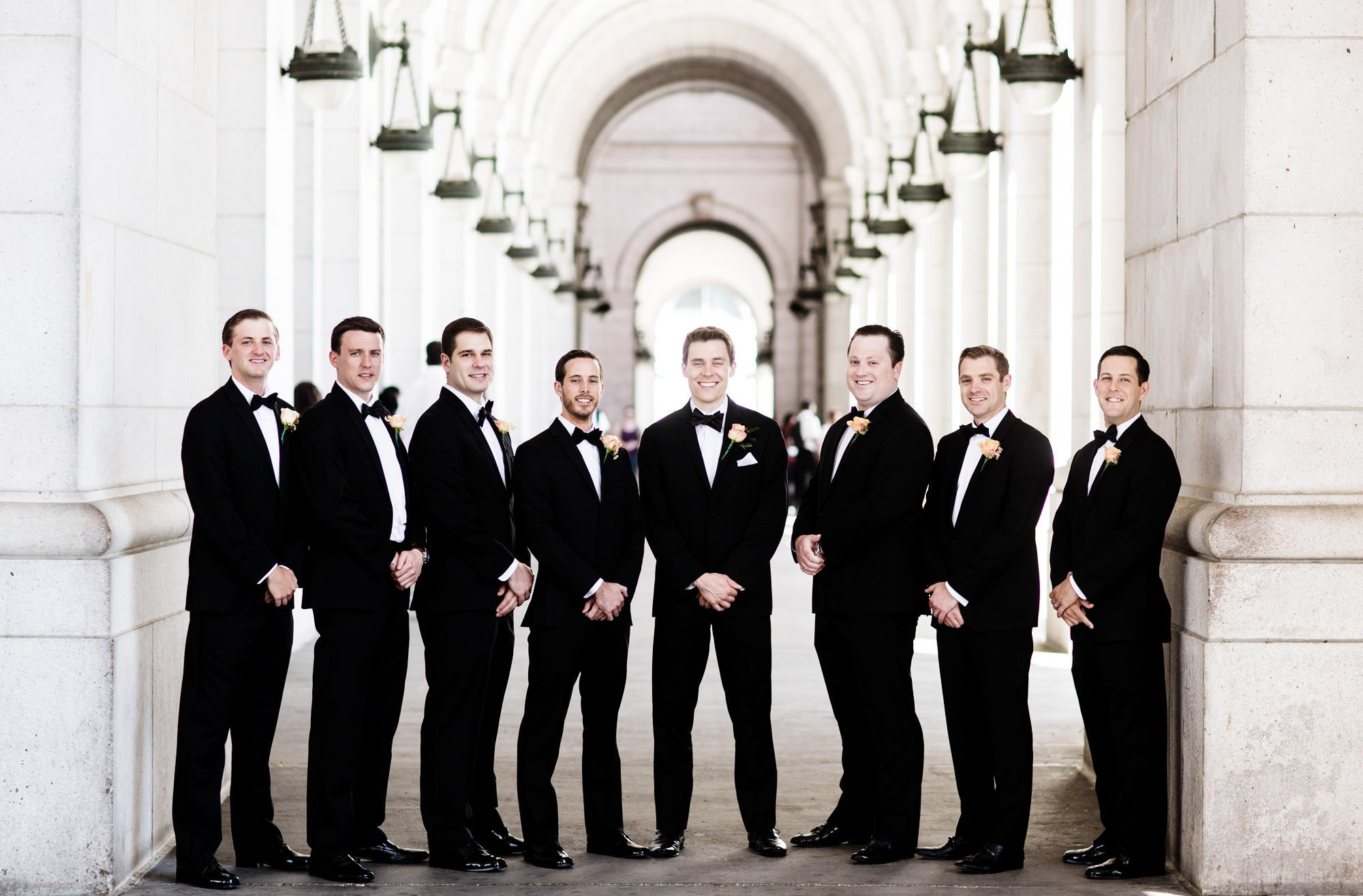 The groomsmen pose for a portrait at Union Station prior to the wedding ceremony.