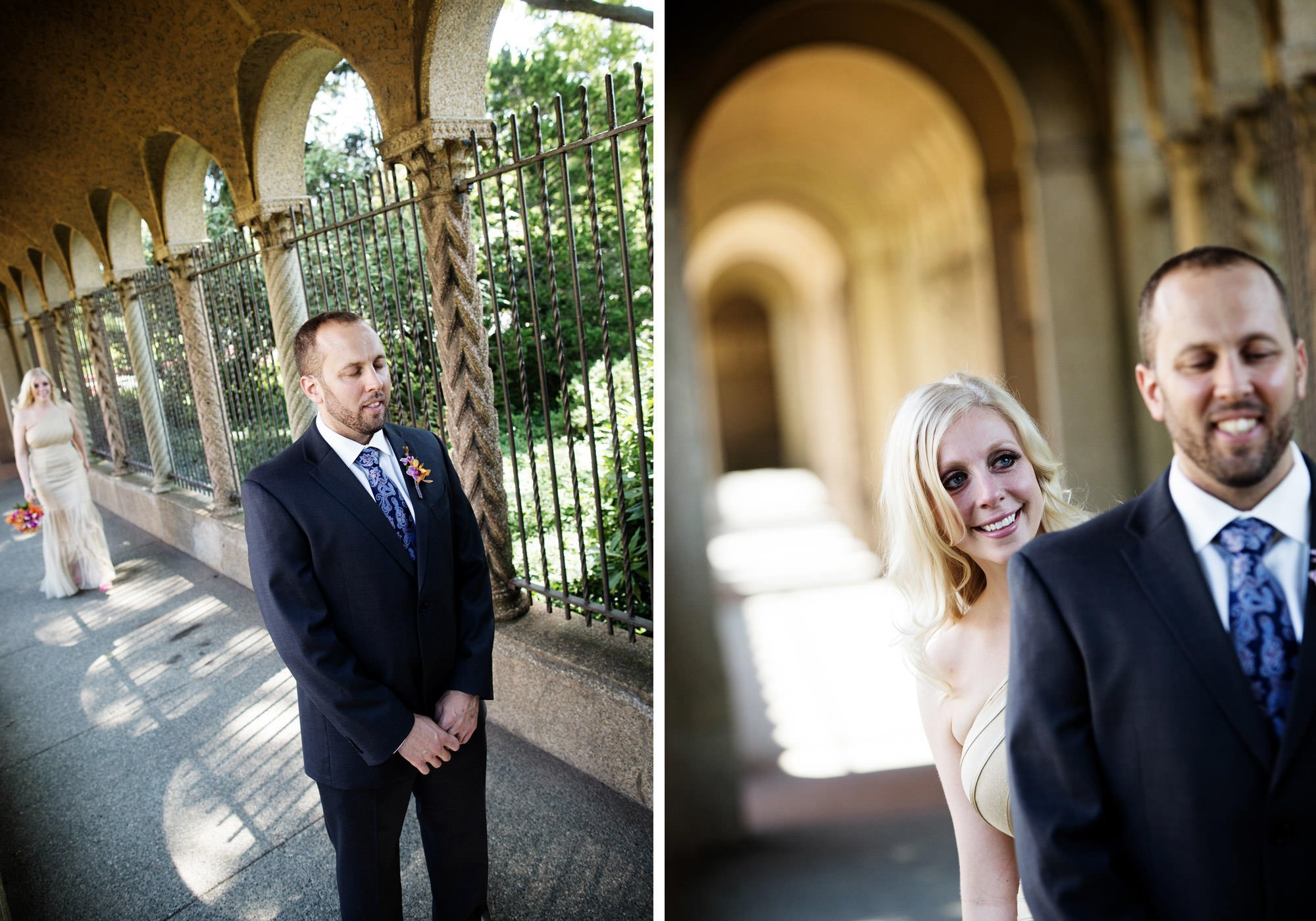The bride and groom share their first look prior to their St Francis Hall wedding.