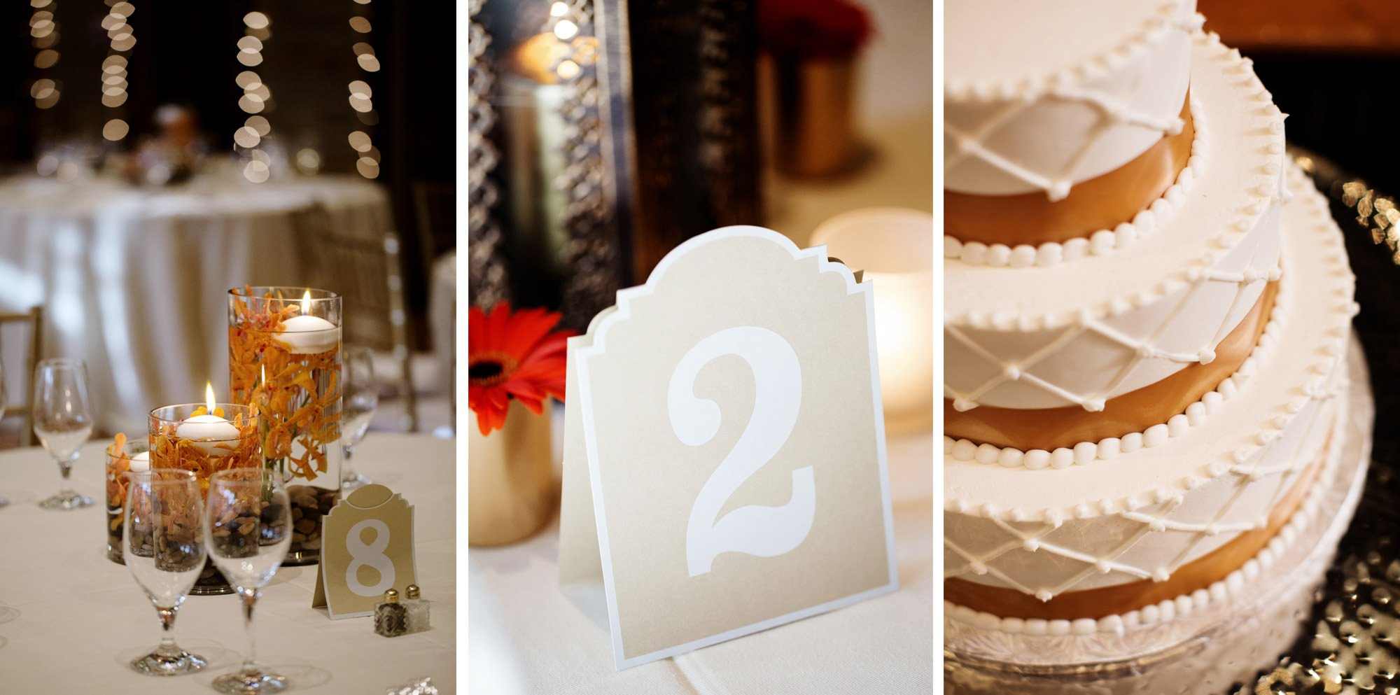 Details of the cake and table settings at this St Francis Hall wedding.