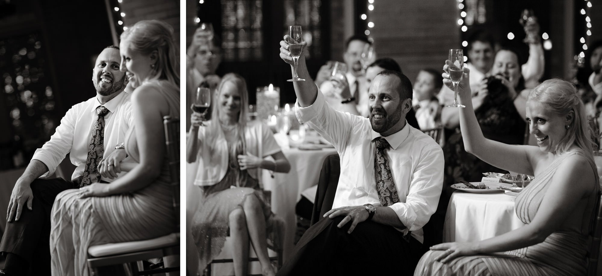 The couple listens to toasts during their St Francis Hall wedding reception.