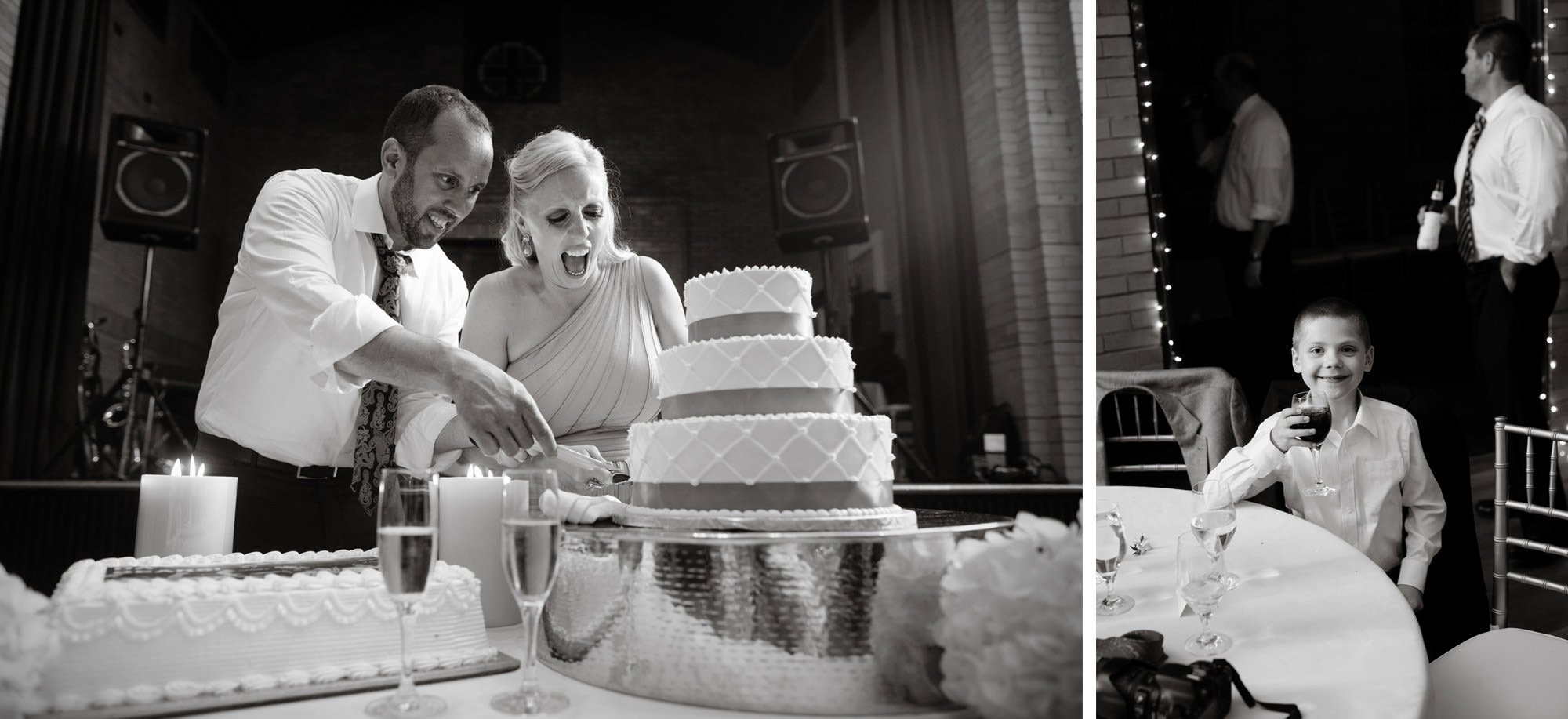 The bride and groom cut their wedding cake in St Francis Hall.