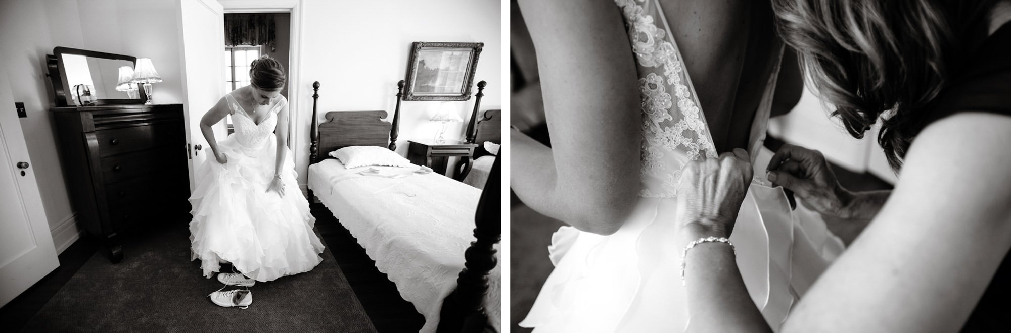 The bride's mother puts on her daughter's wedding dress.