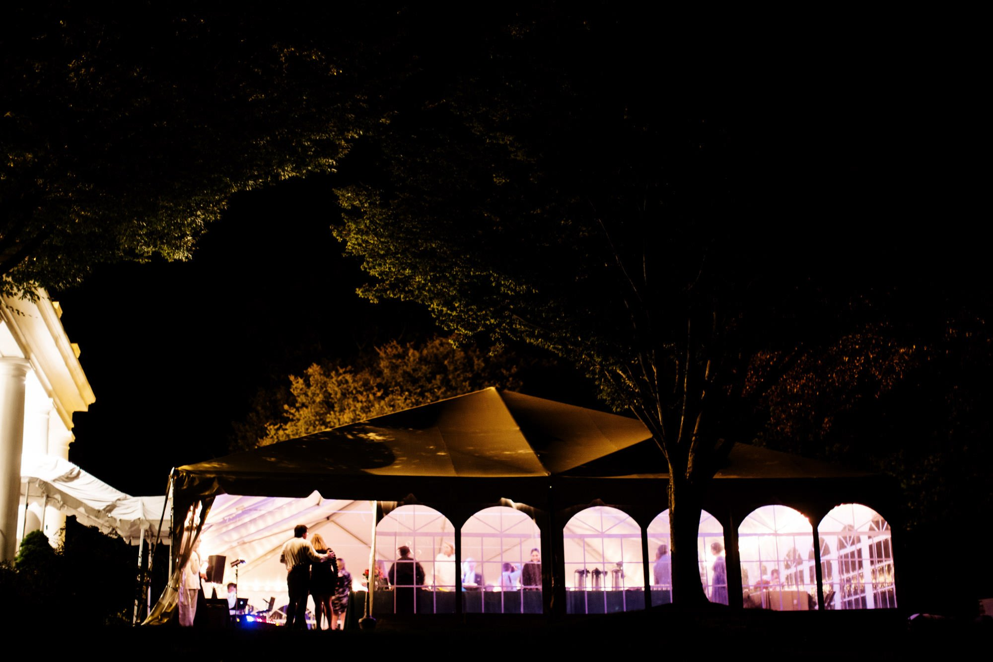 The tented reception during this Strong Mansion Wedding.