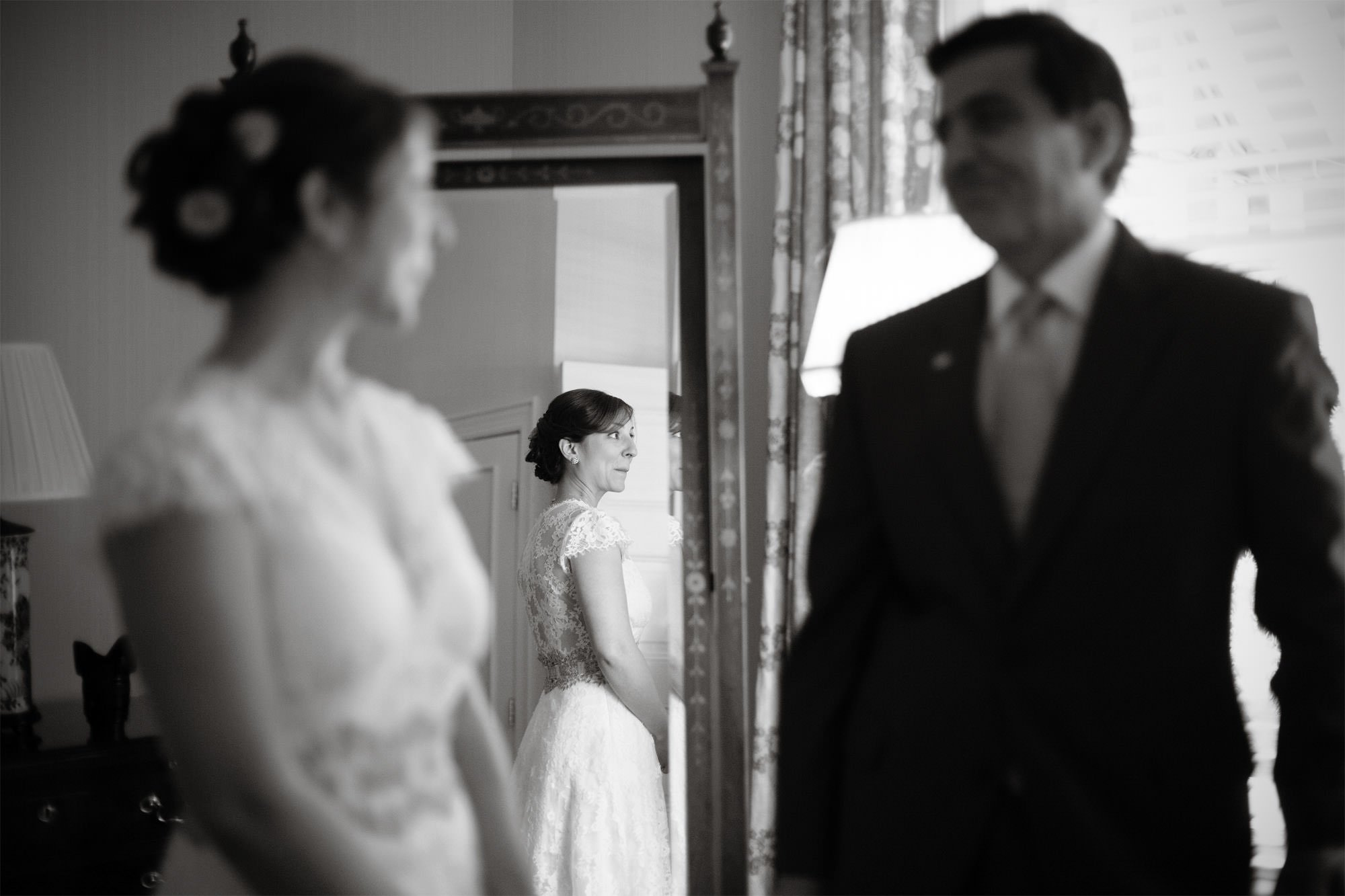 The bride looks at her father prior to her Willowwood Arboretum Wedding in Far Hills, New Jersey.