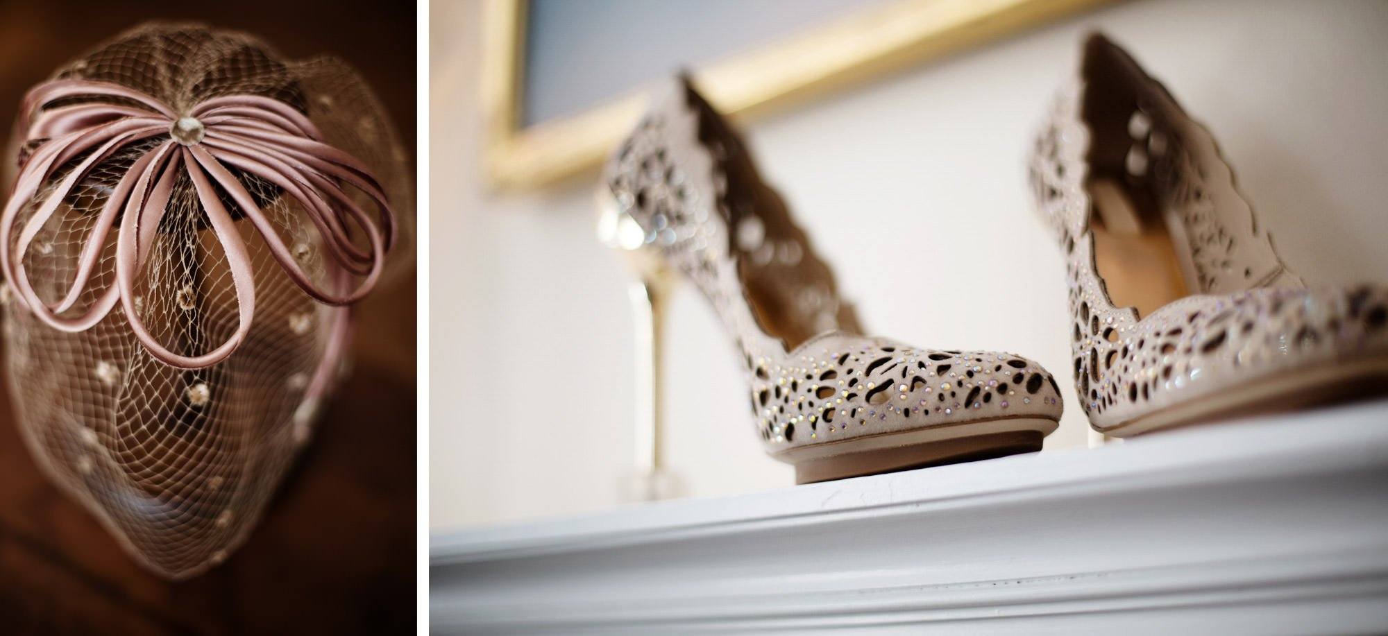 Details of the bride's shoes on her Woodend Sanctuary and Mansion Wedding day.