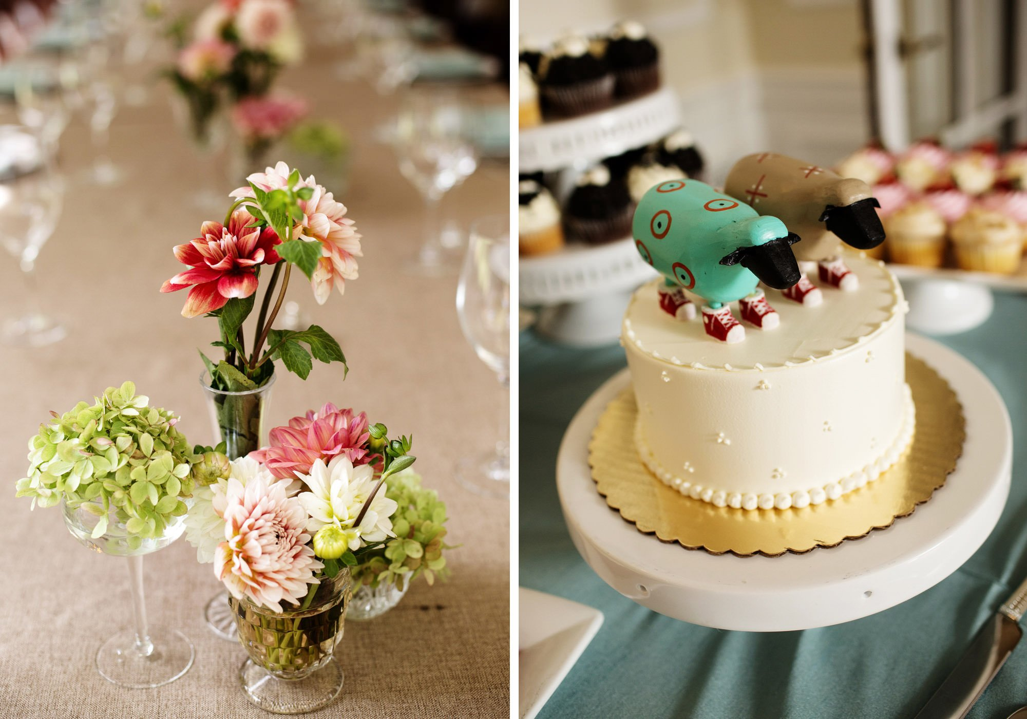 Details of the wedding cake and flower arrangements.
