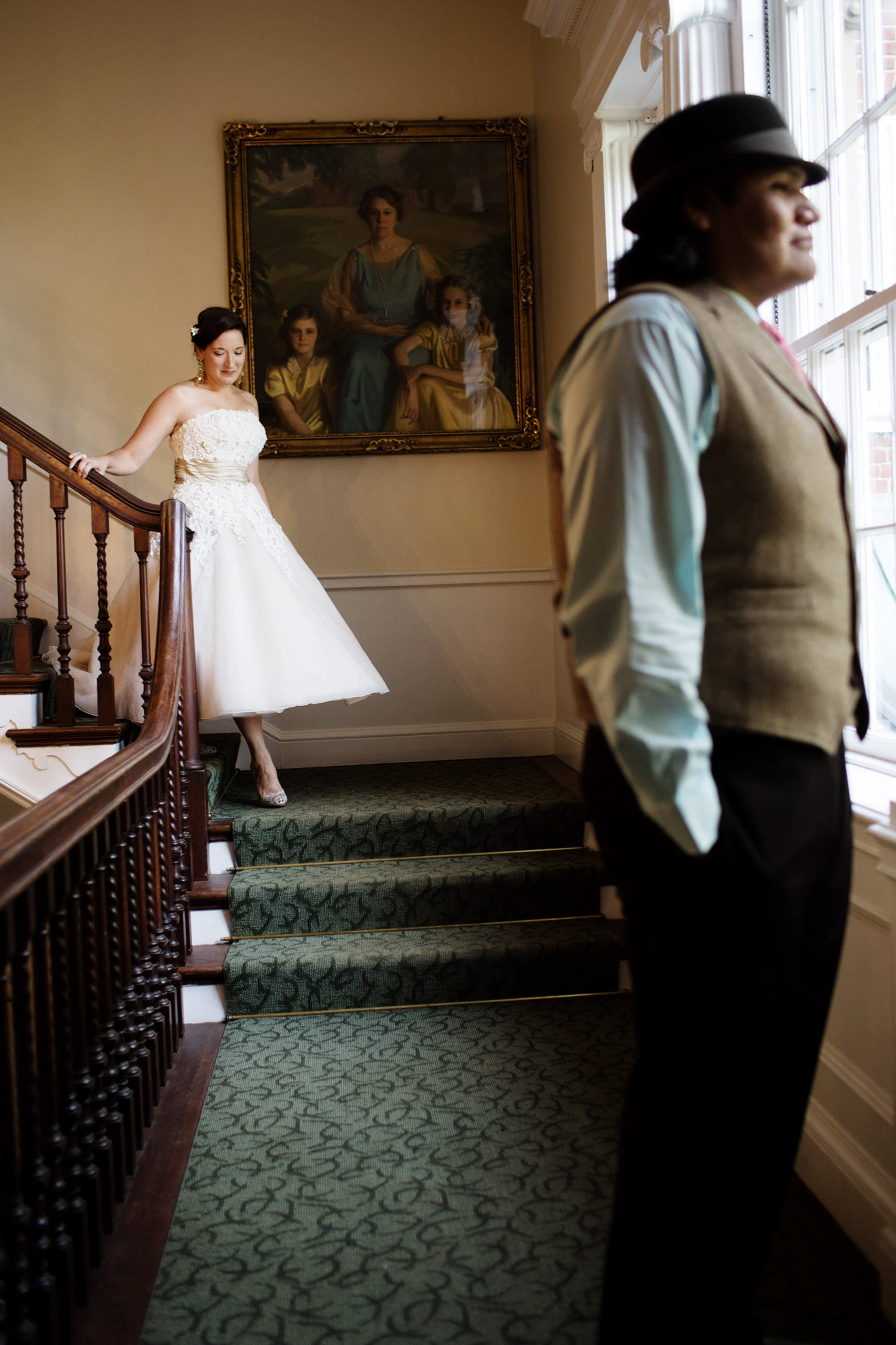 The bride approaches her groom for their first look on their Woodend Sanctuary and Mansion Wedding day.