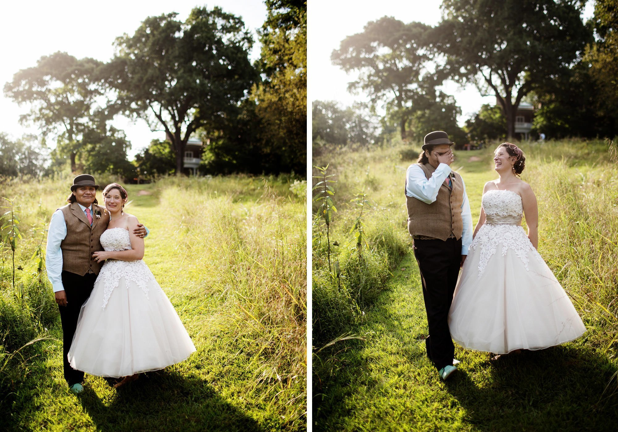 The couple poses for portraits on their Woodend Sanctuary and Mansion wedding day.