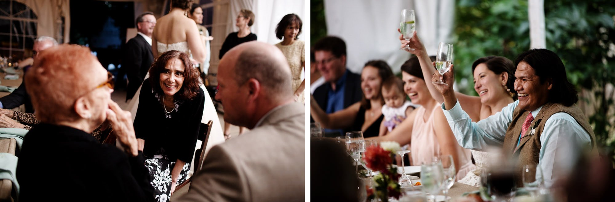 Guests listen to toasts on the Woodend Sanctuary and Mansion wedding day.